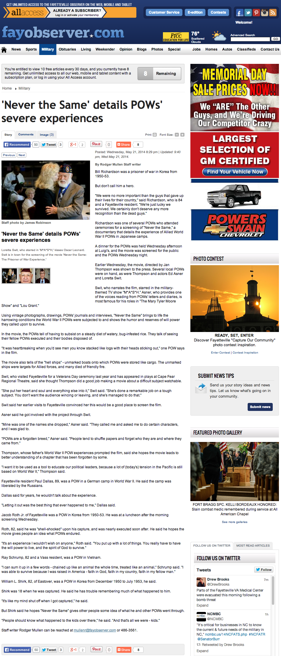 POW Eve of Remembrance_FayObserver_052314